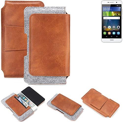 K-S-Trade® Schutz Hülle Für Huawei Y6Pro LTE Gürteltasche Gürtel Tasche Schutzhülle Handy Smartphone Tasche Handyhülle PU + Filz, Braun (1x)