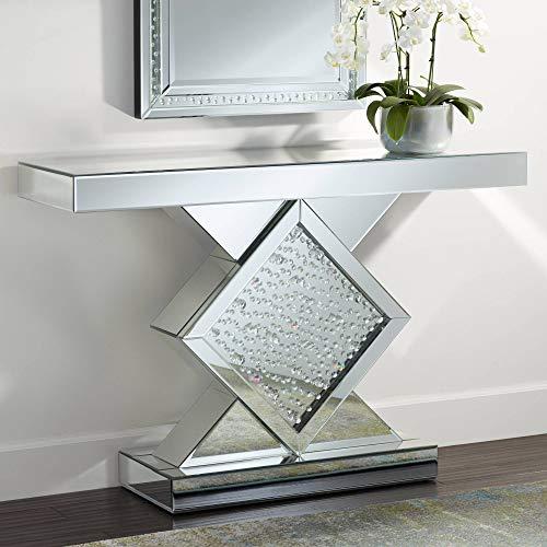 "Fostoria 46 1/2"" Wide Silver-Mirror Crystal Console Table - Studio 55D"