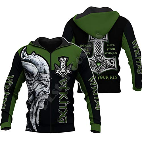 WLXW Herren Vintage Odin Viking Tattoo Nordische Mythologie 3D-Gesamtdruck Hoodie/Pullover/Sweatshirt, Kleidung Lässige Streetwear, Vatertagsgeschenk,Hoodie zipper,M