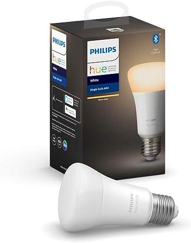 Philips Hue Philips E27 Hue White LED Smart Bulb, Bluetooth & Zigbee Compatible (Hue Hub Optional), Works with Alexa ...