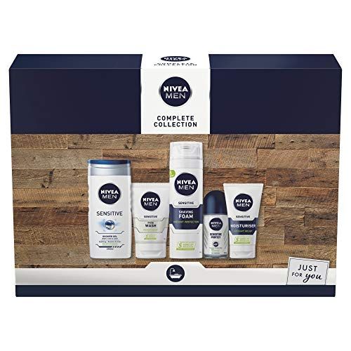 NIVEA MEN Complete Collection Giftset, Men's Toiletry Gift Set for Sensitive Skin, Conquer Skin Irritation with NIVEA Men's Gift Set, 5 Item Men Gift Set