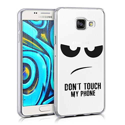 kwmobile Cover Compatibile con Samsung Galaxy A3 (2016) - Custodia in Silicone TPU - Back Case Cover Protettiva Cellulare Don't Touch My Phone Nero/Trasparente