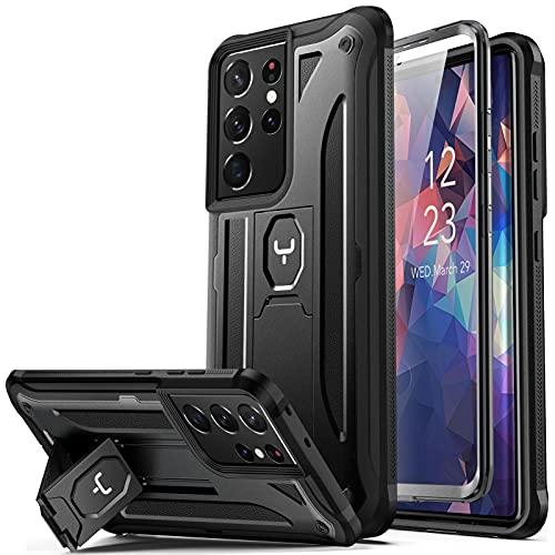 YOUMAKER - Custodia compatibile con Galaxy S21 Ultra con pellicola protettiva integrata per display e impronte digitali, supporto integrale antiurto per Samsung Galaxy S21 Ultra 7', colore: Nero