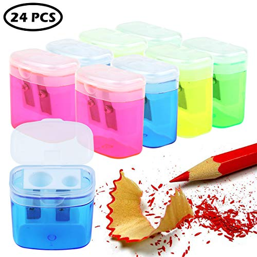 Heatoe 24 Pack Double Hole Pencil Sharpener, 4 Colors of Transparent Plastic Pencil Sharpener with Lid, Hand-held Pencil Sharpener, Suitable for Schools, Families, Offices