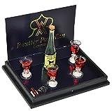 Unbekannt Set: Miniatur Weinflasche mit Weingläser und Korkenzieher - für Puppenstube - Maßstab...