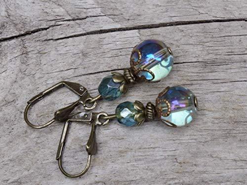 Vintage Ohrringe mit Glasperlen - seegrün & bronze