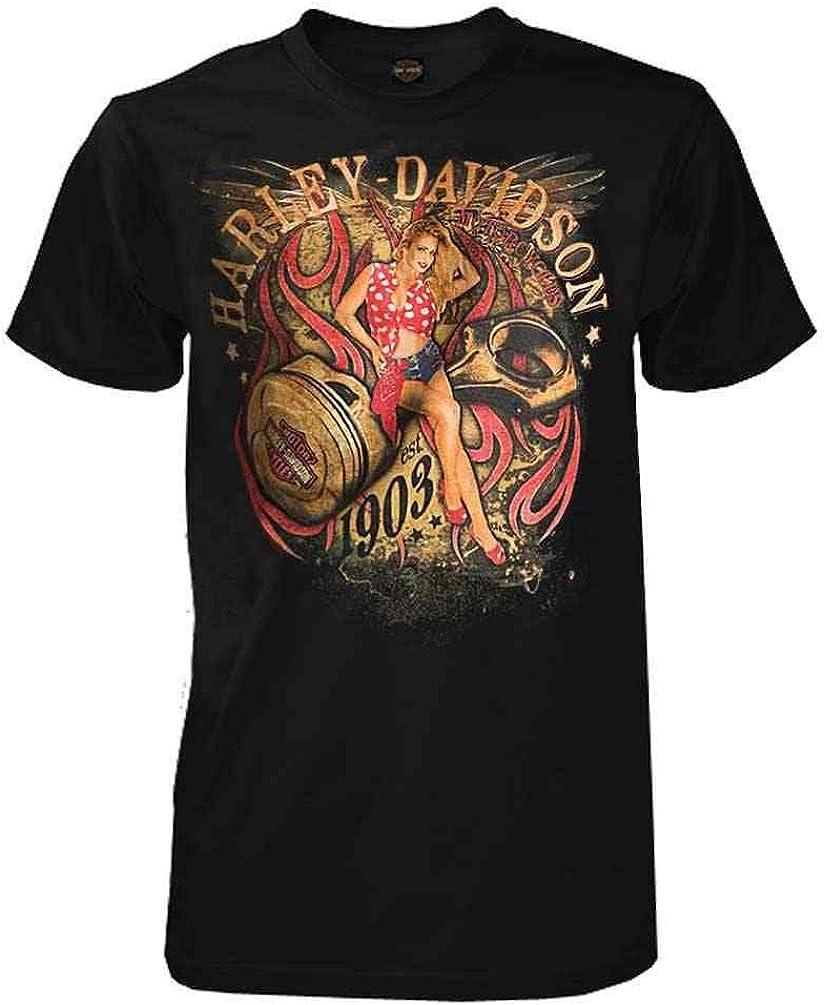 Harley-Davidson Men's Shop Angel Max 43% OFF Max 42% OFF All-Cotton T-Shirt Short Sleeve