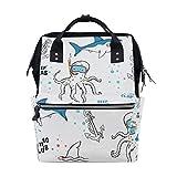 KIMDFACE バックパック 手描きベクトルかわいいサメタコ 男女兼用 通学 通勤 旅行 スポーツ バッグ