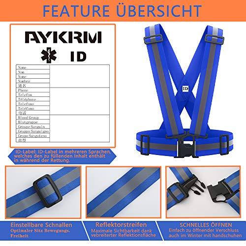 AYKRM Warnweste Fahrrad Reflektorweste Joggen Sicherheitsweste Einstellbar Leicht für Laufen, Motorrad, Running Reflektierende für Erwachsene, Kinder (Blau) - 3