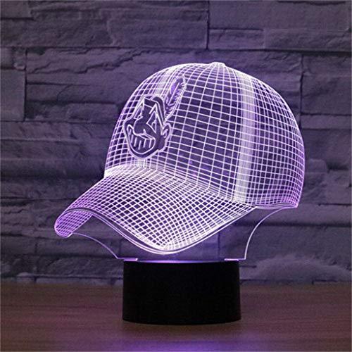 LIUL Cleveland Indians Baseball Cap 3D dekorative Lichter/LED Lampe Nachtlicht, Änderungen in Sieben Farben, Nachtlicht Beleuchtung Lampe Kinder, Ihre Schreibtischleuchten