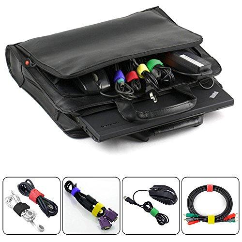 100 Pack Kabelbinder mit 2 Typen, FineGood Mehrfarbige Wiederverwendbare Befestigung Klebeband Seil Organizer Management für Tablet Laptop PC TV Ho...