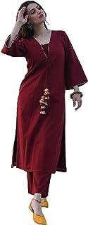Monika Silk Mill Women's Cotton & Silk Semi-stitched Salwar Suit (Style985_Maroon_Free Size)