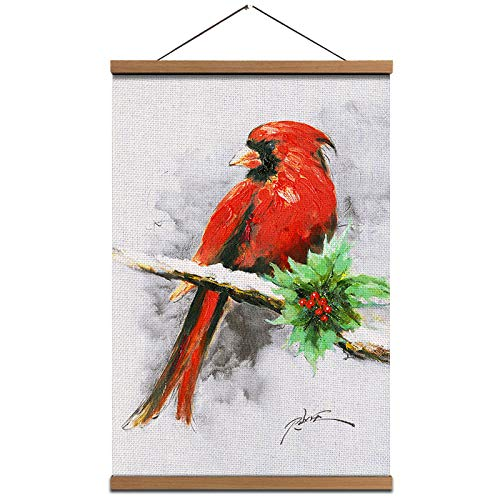 Christmas Nutcracker with Red Jacket Wall Art Poster - Soldier Print Linen Canvas Hanging Pictures Artwork 16x24 inch for Home Art