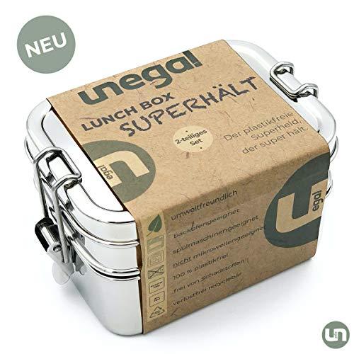 unegal® | NEU | Lunchbox SUPERHÄLT | plastikfrei mit 2 Fächern | 1000ml Edelstahl Brotdose | Bento-Box Set auch ideal für Kinder | 18/8 Edelstahl Brotbox mit stabilen Clips | ECO & BPA-frei