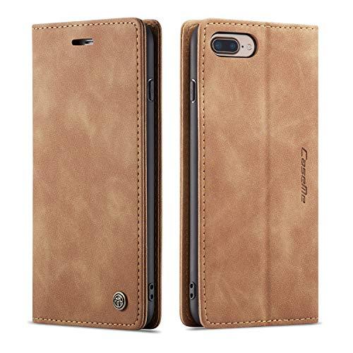 QLTYPRI Hülle für iPhone 6 Plus 6S Plus, Vintage Dünne Handyhülle mit Kartenfach Geld Slot Ständer PU Ledertasche TPU Bumper Flip Schutzhülle Kompatibel mit iPhone 6 Plus 6S Plus - Braun