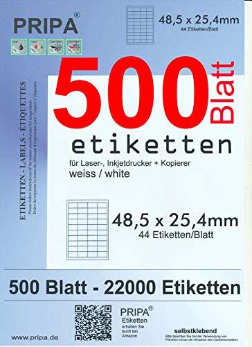 pripa - Amazon FBA Versand Etiketten 48,5 x 25,4 mm - 44 Stueck auf A4 MaxiPack 500 Blatt DIN A4 selbstklebende 22.000 Etiketten