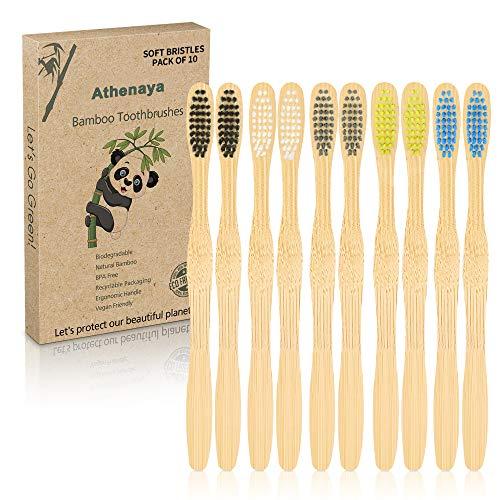 Cepillo de dientes de bambú para adultos, 10 unidades, sostenible, bambú, sin plástico, sin BPA, respetuoso con el medio ambiente, biodegradable