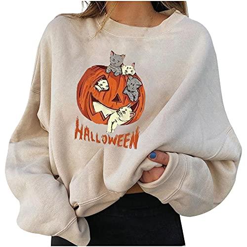 Wave166 Sudadera de Halloween de gran tamaño, con estampado de calabaza, bonita, con cuello redondo, manga larga, informal, de un solo color, ropa deportiva, para mujer, 4-beige, M
