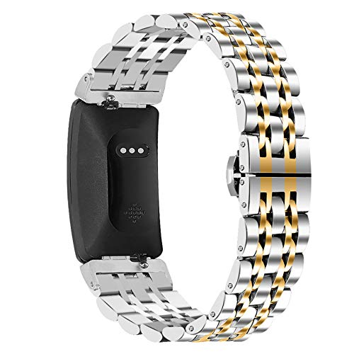 TWBOCV Metal Bands Compatible with Fitbit Inspire 2, Metal Stainless Steel Strap for Women Men with Disassembly Tool Replacement Watchband for Fitbit Inspire 2 (Gold A)