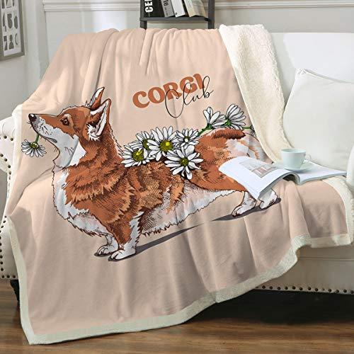 Sleepwish Watercolor Corgi Floral Sherpa Fleece Decke Welsh Corgi mit Blumenmuster Tiermuster Fuzzy Decken für Bett oder Couch H&eliebhaber Bettwäsche Geschenke Twin (152,4 x 203,2 cm)