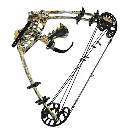 AMEYXGS Archery Compound Bow Dual-Purpose Steel Ball Hunting Bow 50lbs Triangle Bow Catapult for Outdoor Hunting Fishing (Camo)