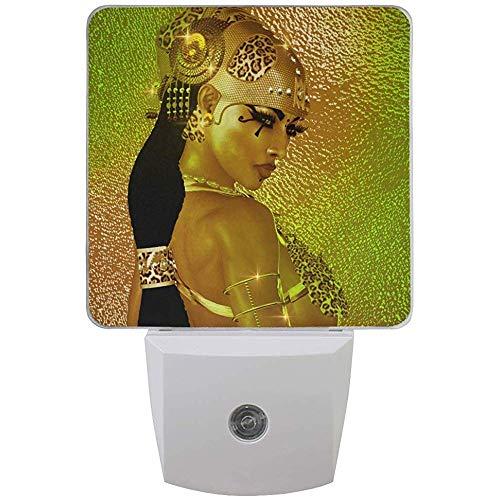 Katrine Store Nachtlicht ägyptische magische Göttin in Goldschmuck Kostüm Auto Senor Dämmerung bis Morgendämmerung LED-Licht Lampe für Flur, Küche, Schlafzimmer
