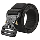 Men's Tactical Belt Heavy Duty Webbing Belt Adjustable Military Style Nylon Belts (Waist:30'-35', Black3)