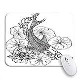 NR 可愛いマウスパッド Koiの魚日本の鯉蓮の葉と花ノンスリップゴムバッキングノートブック用マウスパッドマウスマット