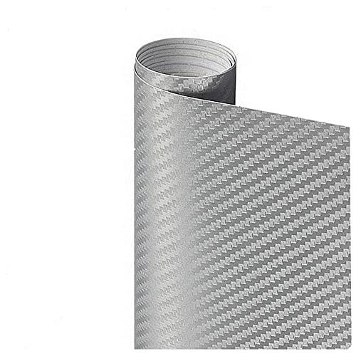 Pegatina de película de rollo de papel de envoltura de automóviles Pegatina de coches Multi Color Sticker 3D Fibra de carbono Vinyl Multi tamaño Autoadhesivo (Color Name : Silver)