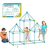 Fort Building Kits for Kids 85 Pieces, Learning Toys for 3-14 Years Old Creative Forts, DIY Building Castles Tunnels Play Tent with Stronger Pillar Support, Rocket Tower for Indoor and Outdoor …