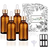 PrettyCare Eye Dropper Bottles 2 oz 4 Pack ( Glass Bottles 60ml with Golden Caps, 12 Labels, Funnel & Measured Pipettes) Empty Tincture Bottles for Essential Oils (Amber)