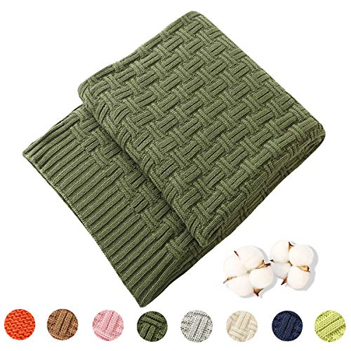 TREELY 100% Cotton Knitted Throw Blanket Couch Cover Blanket(50 x 80 Inches, Green Forest)