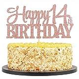 QIYNAO Rose Gold Glittering 14 Happy Birthday Cake Topper - Birthday Party Decorations,Birthday Cake Decor, Birthday Party Decor (14th)