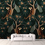 3D Wallpaper tiger and peacock Seamless pattern with tiger and peacock on tree with Self Adhesive Bedroom Living Room Dormitory Decor Wall Mural Stick And Peel Background Wall Ceiling Wardrobe Sticker