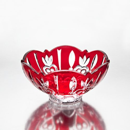 Studio Silversmith Crystal Candy Dish Bowl, Red