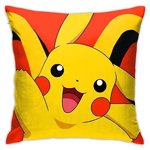 Poke-mon Go - Funda de cojín suave para sofá, decoración del hogar, 45,7 x 45,7 cm