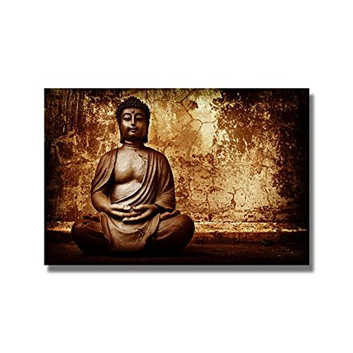 Lona Pared Arte Estatua de Buda sobre Fondo Natural, Carteles e Impresiones, Imagen artística de Pared, decoración del hogar 60x90cm