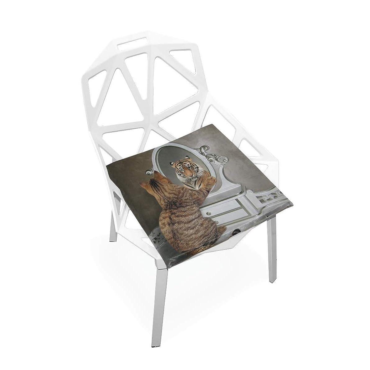 に負けるインシュレータ右座布団 低反発 猫柄 面白い 虎柄 タイガー 鏡に映する猫 椅子用 ビロード オフィス 車 洗える 40x40 かわいい おしゃれ ファスナー ふわふわ 学校 fohoo