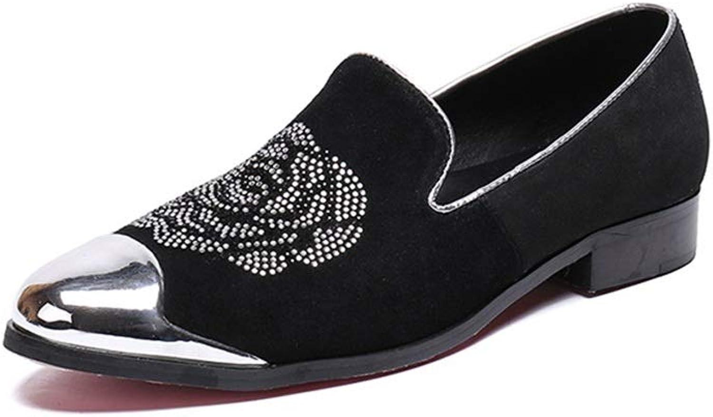 Rui Landed Oxford Für Mann Formelle Schuhe Slip On Style Hochwertiges Echtes Leder Schne Diamant Metallzehe Nachtclub (Farbe   Schwarz, Gre   44 EU)
