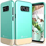 Galaxy S8 Plus Case, Vena [iSlide][Two-Tone] Dock-Friendly Slim Fit Hard Case Cover for Samsung Galaxy S8+ (Teal/Champagne Gold)