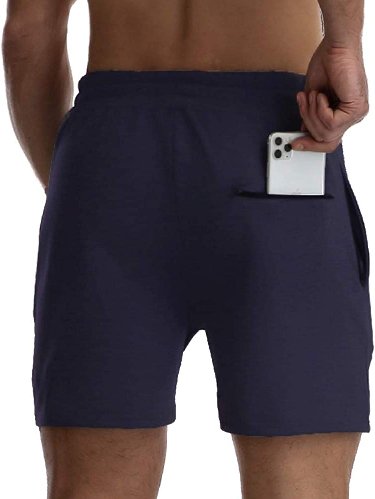 FANYEAH Mens 5 Cotton Running Gym Shorts Workout Fitted Quick Dry Athletic Fitness Jogger Shorts with Zipper Pockets