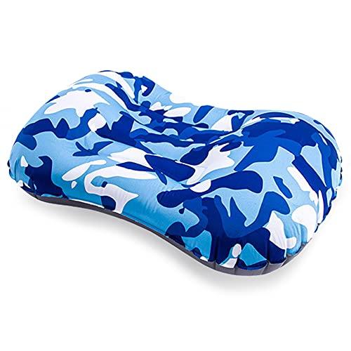 AVNICUD Almohada inflable de viaje para camping, cojín lumbar ultraligero (camuflaje azul)