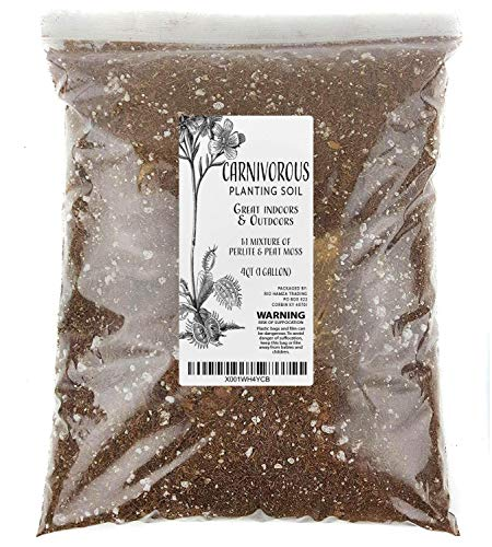 Carnivorous Plant Soil Mix, One Gallon XL Bag, All Natural Ingredients, Great Soil for Venus Fly Traps, Sundews, and Pitcher Plants (4qt)