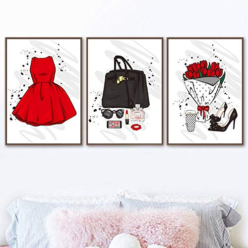 Paris Perfume Lápiz labial Falda Arte de la pared Pintura en lienzo Carteles e impresiones nórdicos Cuadros de pared de moda para la decoración del hogar de la sala de estar | 38x50cmx3 Sin marco
