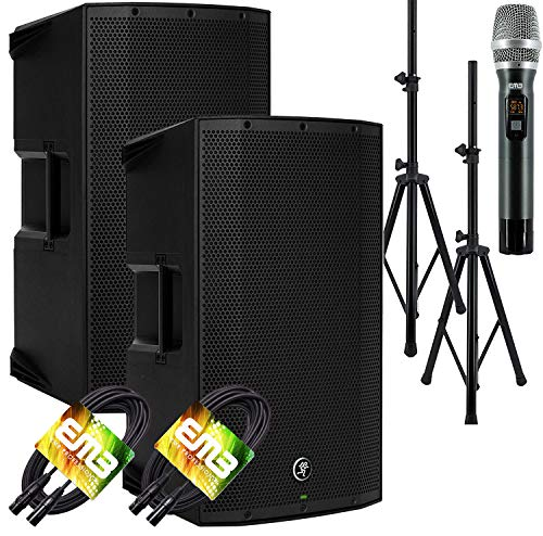 """(2) Mackie Thump15A THUMP-15A 1300W 15"""" Powered Loudspeaker (Pair) with EMB Speaker Stand + EMB Microphone and EMB XLR Cable Bundle"""