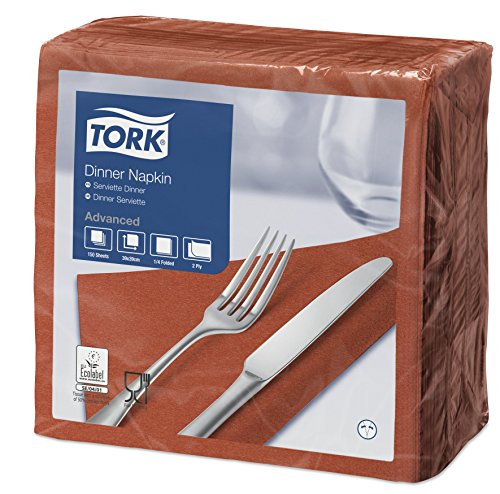Tork 478763 Serviettes Dinner Advanced couleur terracotta / 2 plis - 39cm x 39cm - 12 x 150 serviettes