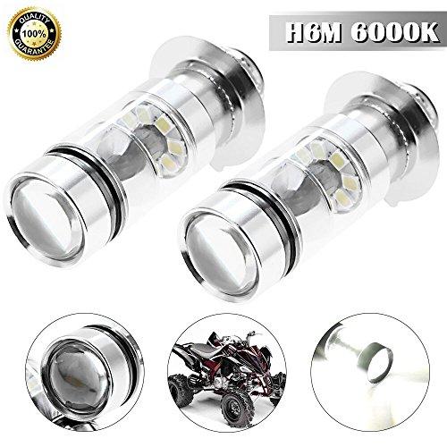H6M LED Headlight Bulbs 6000K Ice Blue for Yamaha YFZ450R Rhino 700 Raptor YFM660 TRX