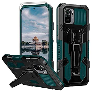 for Xiaomi Redmi Note 10 4G/Redmi Note 10S Case with [2 Pack] Tempered Glass Screen Protector Rugged Hybrid Dual Layer Military-Grade Phone Cover Case with Belt Clip for Redmi Note 10 4G Case -Green