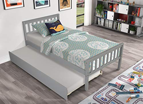 Twin Bed with Pullout Trundle Bed for Kids, Solid Wood Platform Bed Frame with Headboard, Footboard for Teens Boys Girls,No Box Spring Needed (Grey)
