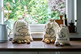 anlaufs-fruchtschutz24 Set of 3 linen vegetable bags for storage, 1 x potato, onion, garlic.